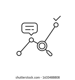 thin line big data analytics or kpi icon. concept of statistics analysis process and business productivity improvement. flat linear trendy stroke logotype graphic art design element isolated on white