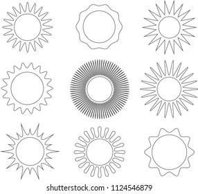 Thin line black and white sun symbol set. Vector illustration