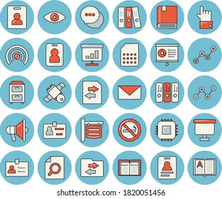 Thin line blue tinted icon set - motherboard flat vector, SIM card, signboard, scatter chart, flipchart, chat, badge, magnifier, folder, archive, satellit, textbook, indentity, no smoking, pass, eye
