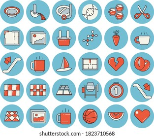 Thin line blue tinted icon set - concrete mixer flat vector, house layout, tile, flooring, scissors, watermelon, dish, coffee beans, carrot, tea, honeycomb, metallurgy, dna, medal, basketball, heart