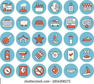 Thin line blue tinted icon set - earth flat vector, train, airport tower, hike, suitcase, passport, check in, tent, cash dispenser, luggage, sea beach, island, cocktail, swimming mask, starfish, key