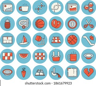 Thin line blue tinted icon set - concrete mixer flat vector, house layout, tile, flooring, scissors, watermelon, dish, coffee beans, carrot, tea, pineapple, honeycomb, metallurgy, dna, medal, heart