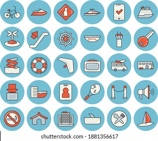Thin line blue tinted icon set - bus flat vector, VIP area, escalator, airport tower, bicycle, hang glider, suitcase, check in, tent, hotel first line, get luggage, sea beach, island, table setting