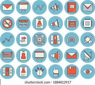 Thin line blue tinted icon set - satellite antenna flat vector, motherboard, signboard, scatter chart, flipchart, mouthpiece, badge, folder, paper tray, mail, satellit, textbook, brainstorm, pass