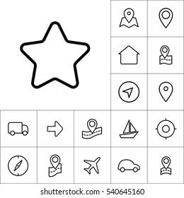 thin line bookmark star icon on white background, navigation set