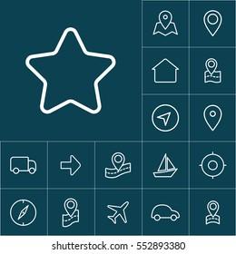 thin line bookmark star icon on blue background, navigation set