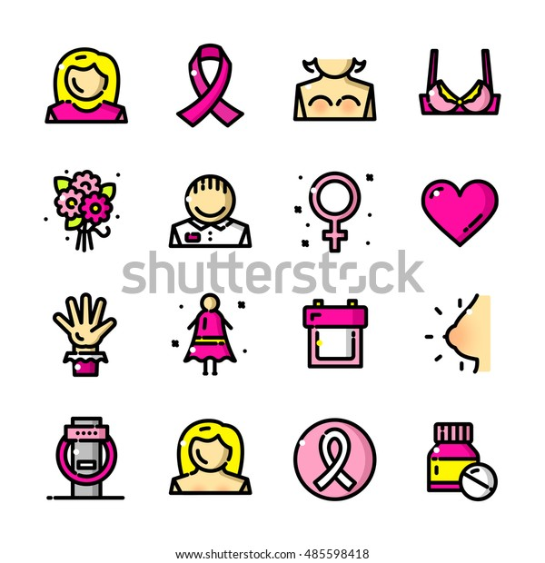 Thin Line Breast Cancer Awareness Month Stock Vector Royalty Free