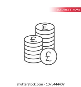 Thin line british pound coin stack icon. Outline, fully editable british pounds coins stacks icon.