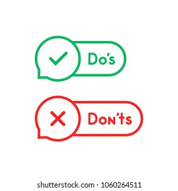 thin line bubble like do's and don'ts. concept of positive or negative decision and simple behavior rules. flat style trend modern linear logo graphic stroke comic design isolated on white background