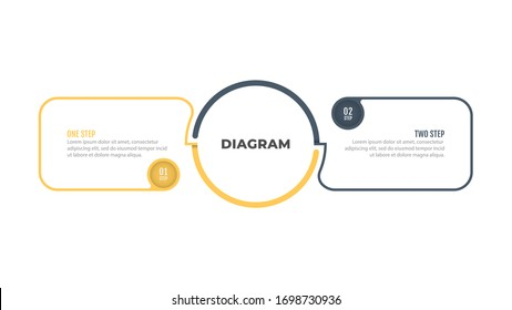 Thin line business diagram elements with 2 number options, steps, circle. Vector illustration.