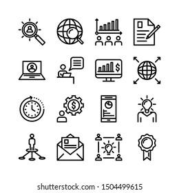 Thin Line Business Icon Set