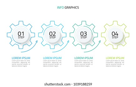 Thin line business infographic . Timeline with 4 cogs design, arrow, options, number options. Vector illustration
