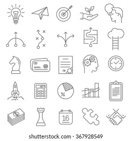 Thin line Business Strategy vector icon set.