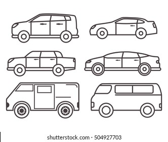 Thin line car vector set of flat various with city car model jeep, SUV, vehicle, sedan, hatchback.Design element for the websites, leaflets, car services, travel companies, children's goods and toys.