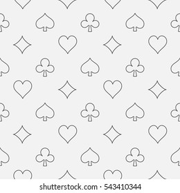 Thin line card suits pattern. Vector poker or casino seamless outline minimal pattern