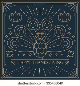 Thin line card with turkey bird for Happy Thanksgiving celebration, can be use as graphic design element, flyer, poster or banner.