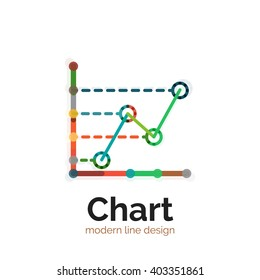 Thin line chart logo design. Graph icon modern colorful flat style. Vector icon