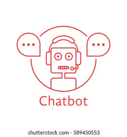 thin line chatbot like hotline service. concept of digital ui, hot line connect, popup, spam software, helpline contact, ai. linear style trend modern logotype graphic design on white background