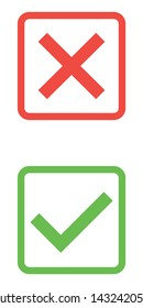 Thin line check mark icons. Green tick and red cross checkmarks flat line icons set. Vector illustration isolated on white background