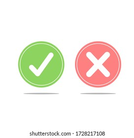 Thin line check mark icons. Green tick and red cross checkmarks flat line icons set. Vector illustration on white background