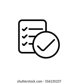 thin line checklist, report icon on white background