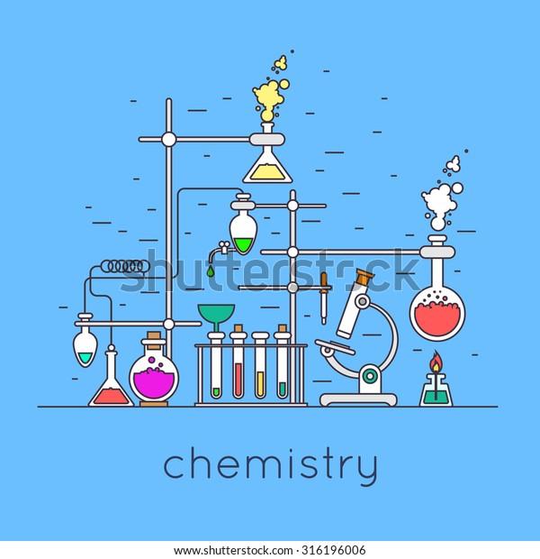 Thin Line Chemistry Laboratory Workspace Science Stock