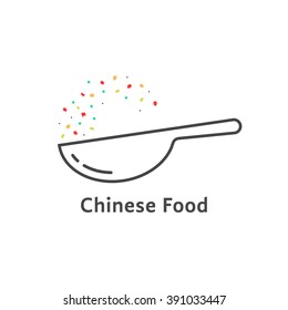 thin line chinese food logo. concept of oriental menu, udon, soba, snack, express lunch, yum, take-away, cookware. flat style trend modern logotype design vector illustration on white background