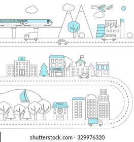 Thin line city background, infographics design elements, vector illustration. Town architecture, commercial building and street facilities, shops and cafe, isolated. Vector illustration