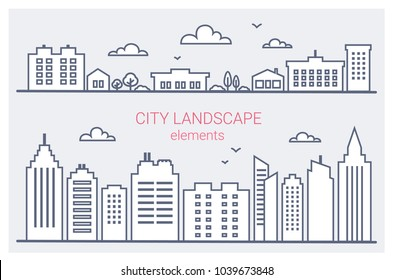 Thin line City buildings set. Downtown landscape with high skyscrapers. Panorama architecture City landscape template. Goverment buildings outline illustration. Urban life elements Vector illustration