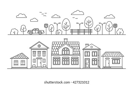 Thin line city elements. Isolated graphic elements: building, street, park, tree, car, fence. Vector illustration.