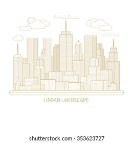 Thin line city landscape concept illustration. View of the business center of a big city. Flat design abstract vector background