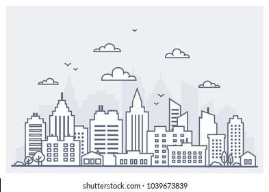 Thin line City landscape. Downtown landscape with high skyscrapers. Panorama architecture City landscape template. Goverment buildings Isolated outline illustration. Urban life Vector illustration