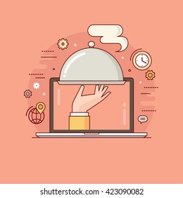 Thin line colorful flat design vector illustration concept for food delivery service. Delivery of prepared meal from restaurant. Online ordering of food. Isolated on bright background