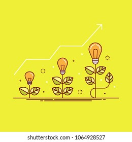 Thin line colorful vector illustration of plants with light bulbs, concept for growing ideas, startup, innovation isolated on bright background