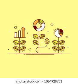 Thin line colorful vector illustration of plants with graphs, concept for growing business, investment, getting profit, analytics isolated on bright background