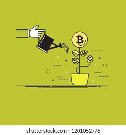 Thin line colorful vector illustration of a hand watering bitcoin plant isolated on bright background