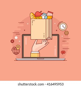 Thin line colorful vector illustration concept for online ordering of food, grocery delivery, e-commerce isolated on bright background