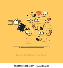 Thin line colorful vector illustration of a hand watering tree consisted of social media symbols, concept for social media marketing, engaging with followers isolated on bright background