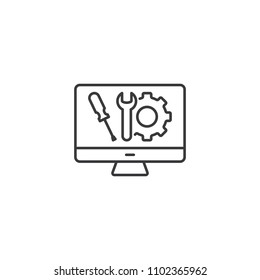 thin line computer technical support icon on white background