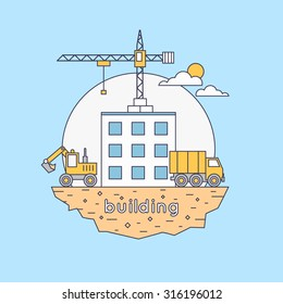 Thin line Construction. Truck and excavator on a construction site. Building a house. Flat icons vector illustration.