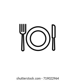 thin line cutlery and dish icon on white background