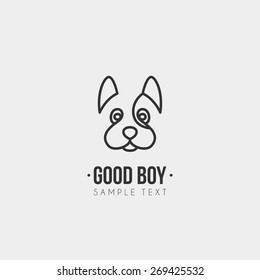 Thin Line Design Template Logotype. Cute Dog