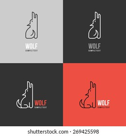 Thin Line Design Template Logotype. Wolf Logo with Color Variations