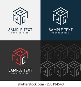 Thin Line Design Template Logotype. Cube maze