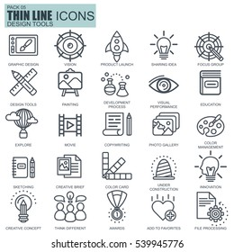 Thin line design tools, art and media icons set for website and mobile site and apps. Pixel Perfect. Editable Stroke. Simple linear pictogram pack. Vector illustration.