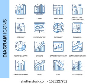 Thin Line Diagram Related Vector Icons Set for Website and Mobile Site and Apps. Outline icons design. Contains such Icons as Pie Chart, Round Diagram, Infographics and more. Linear Pictogram Pack.