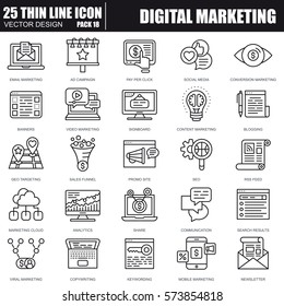Thin line digital marketing icons set for website and mobile site and apps. Pixel Perfect. Editable Stroke. Simple linear pictogram pack. Vector illustration.