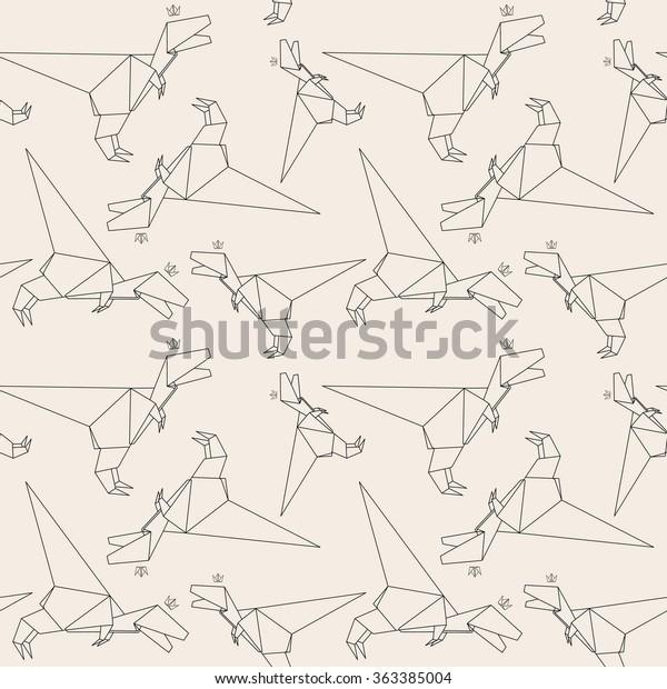 Origami Dinosaur Stock Illustrations – 189 Origami Dinosaur Stock ... | 620x600