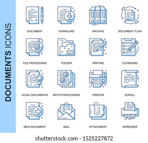 Thin Line Document Related Vector Icons Set for Website and Mobile Site and Apps. Outline icons design. Contains such Icons as Batch Processing, Legal Documents and more. Linear Pictogram Pack.