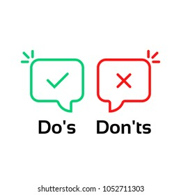 thin line do's and don'ts bubble. simple flat trend modern linear info logotype graphic design isolated on white background. concept of rules of conduct for people like fail or incorrect decision